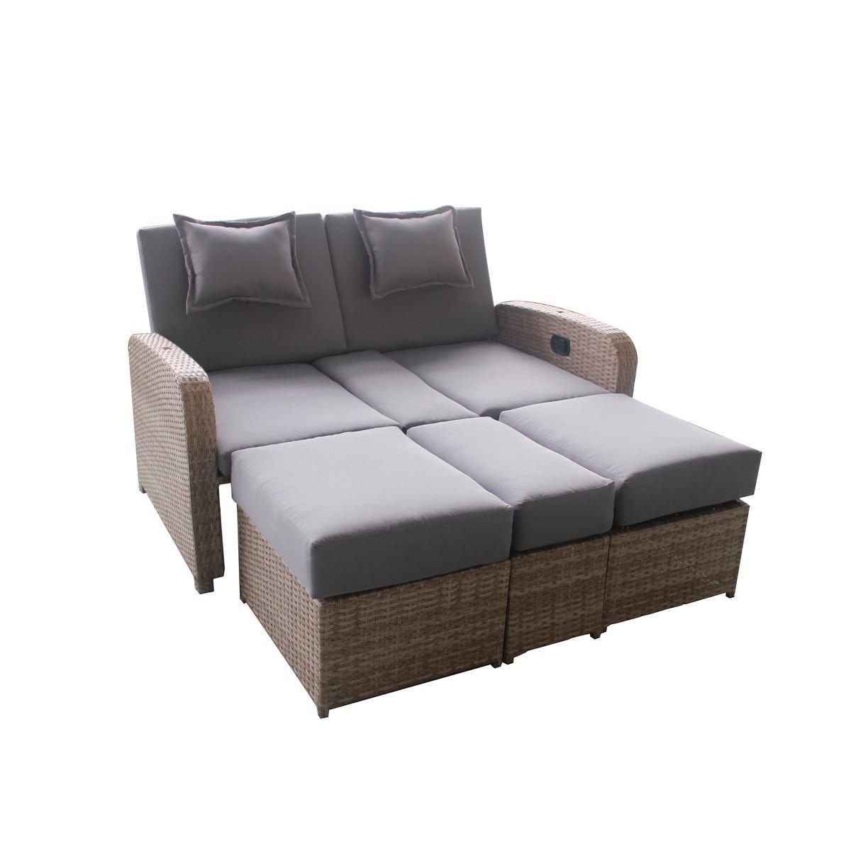 Greemotion Rattan Lounge Bali Sofa Bett Aus Polyrattan Indoor