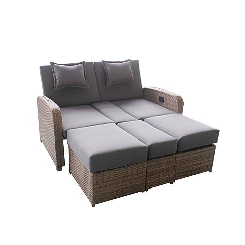 Gartenbett mit dach  Amazon.de: greemotion Lounge Orlando braun/grau, inkl. Auflagen ...