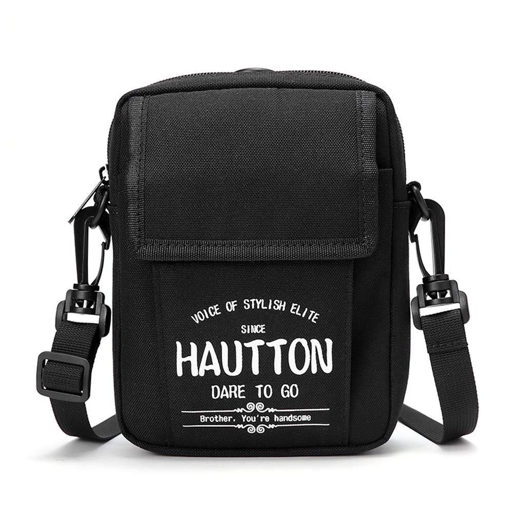 LOOZY Black Nylon Material Mens Bag Shoulder Bag Polyester Lining Male Letter Street Fashion Messenger Bag Canvas Bag Youth Hip Hop Personality Bag Mens Sports Bag