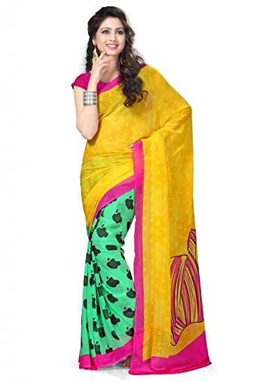 2243eaf4db7 Vaamsi Chiffon Saree (Rolex3011  Yellow)  Amazon.in  Clothing   Accessories