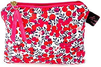 6a9e06542e0f Alice Caroline. Liberty Fabric Small Flat Purse Cosmetic Make Up Bag  Wiltshire Red Design