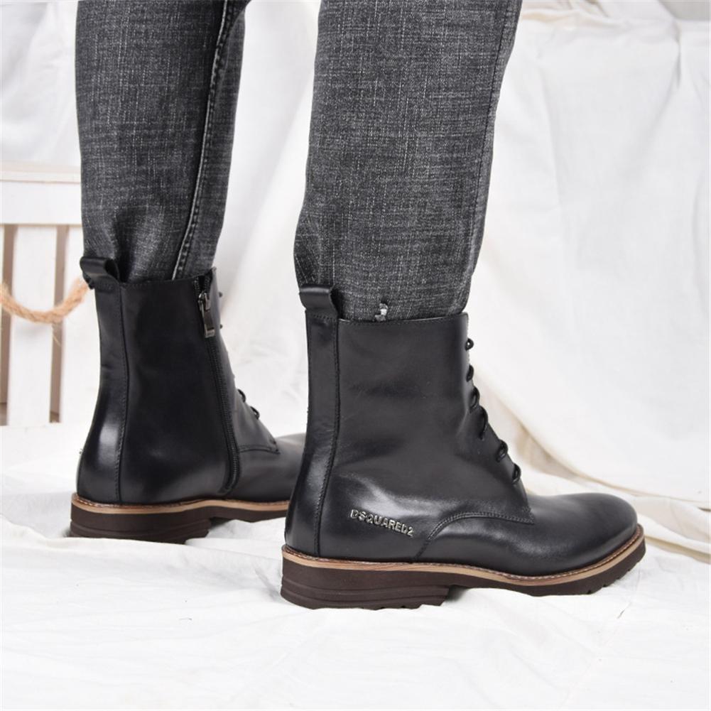 Männer Männer Männer Leder Stiefel Schuhe Hoch Geschäft Schwarz Schnüren britisch Stil Herbst Winter Freizeit Hochzeit Niedrig Spitz c303ec