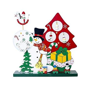 DFUTYK Familia Caja de música de Madera Regalo Decoraciones navideñas Santa Muñeco de Nieve Decoración de