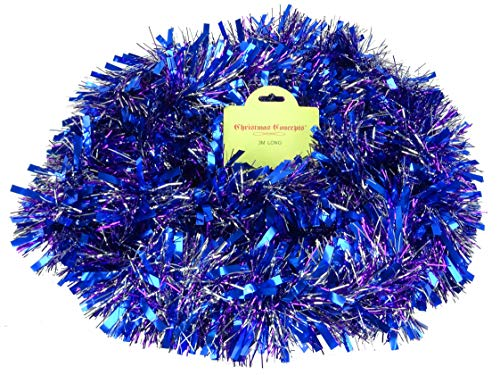 Purple/Blue/Silver Chunky/Fine Christmas Tinsel - 3 Metre - Christmas Decorations ()