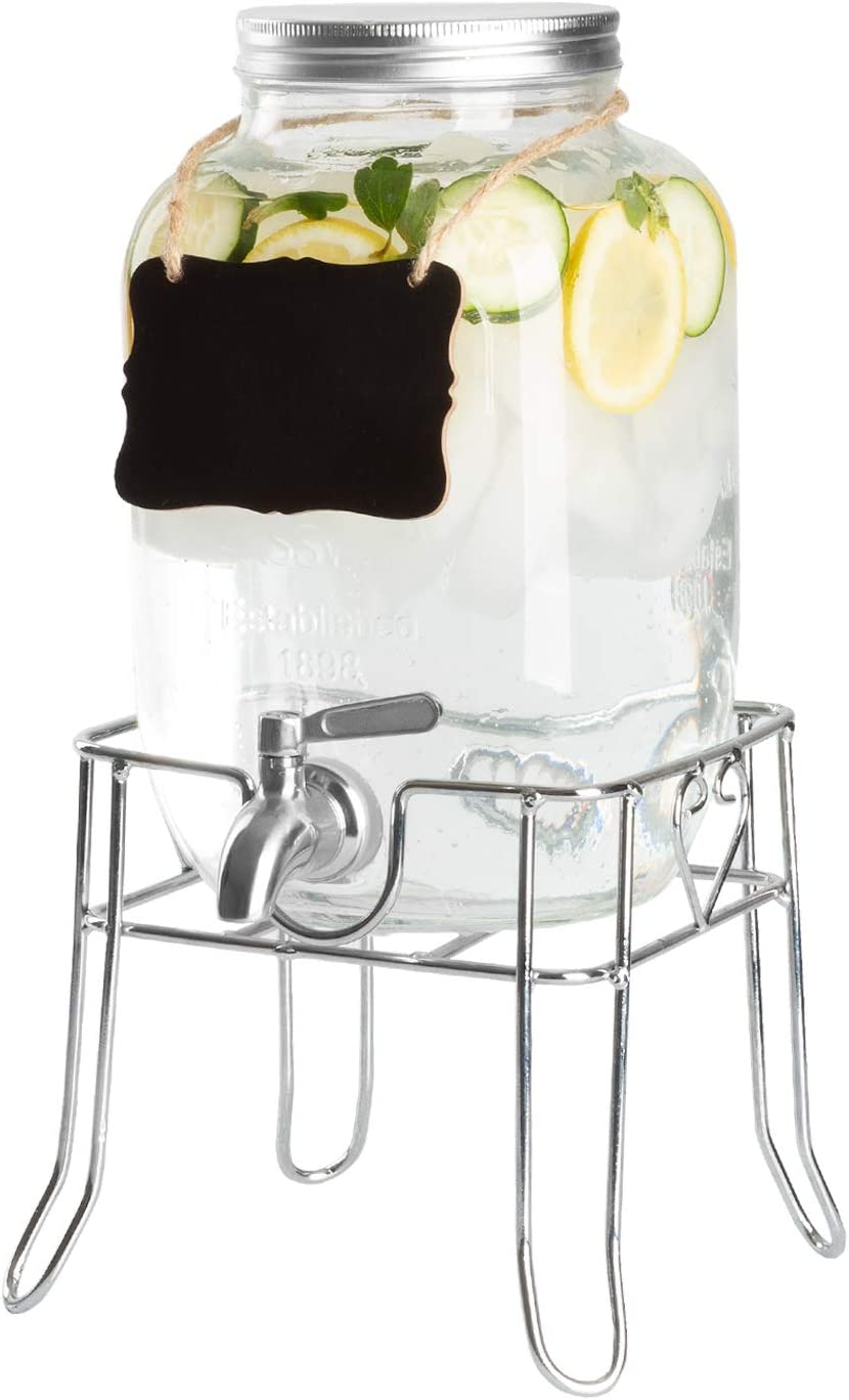Outdoor Glass Beverage Dispenser with Sturdy Metal Base, Stainless Steel Spigot & Hanging Chalkboard - Drink Dispenser for Lemonade, Tea, Cold Water & More