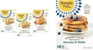product image for Simple Mills, Snacks Variety Pack, Fine Ground Sea Salt, Rosemary & Sea Salt, Farmhouse Cheddar Variety Pack, 3 Count & Almond Flour Pancake Mix & Waffle Mix, Gluten Free