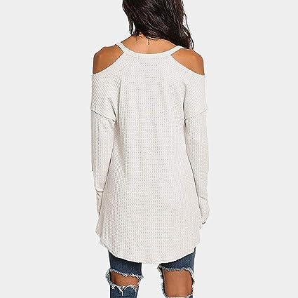 FELZ Blusas largas de Mujer, Camisas para Mujer, Elegante Camiseta Mujer Blusas Off Hombro Manga Larga Pullover Mujer Moda Estampado Tops Fiesta Blusa: ...