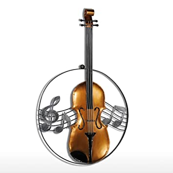 Amazon.com: Tooarts Modern Violin Wall Hanging Decoration Metal ...