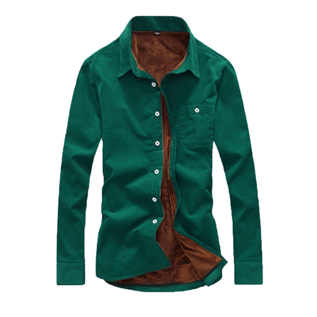 JTENGYAO Men's Trench Shirt Slim Fit Winter Warm Coat