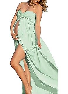 3595ba70b JL Store Maternidad elástico de la Mujer Sheer Gasa de algodón Albornoz  Split Delantero Maxi Vestido
