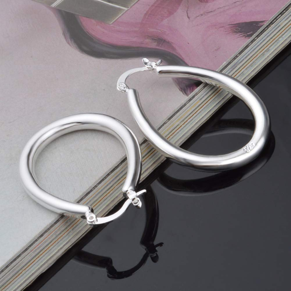 Mggsndi Silver Plated Hollow Oval Dangle Hoop Earring Statement Earrings Pendant for Women Girls Beach Daily Wear or Fashion Jewelry Valentine Birthday Gifts
