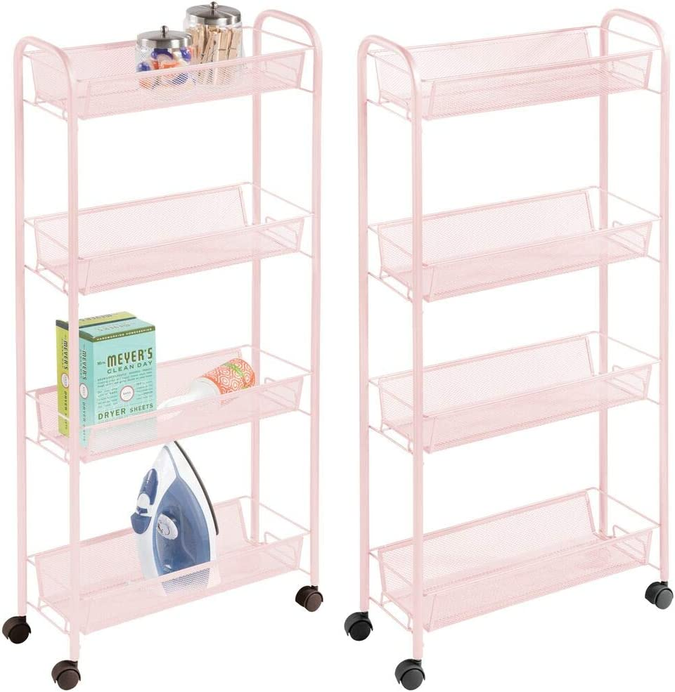 mDesign Portable Rolling Laundry Utility Cart Organizer Trolley with Easy-Glide Wheels and 4 Multipurpose Heavy-Duty Metal Mesh Basket Shelves - Durable Steel Frame - 2 Pack - Blush Pink