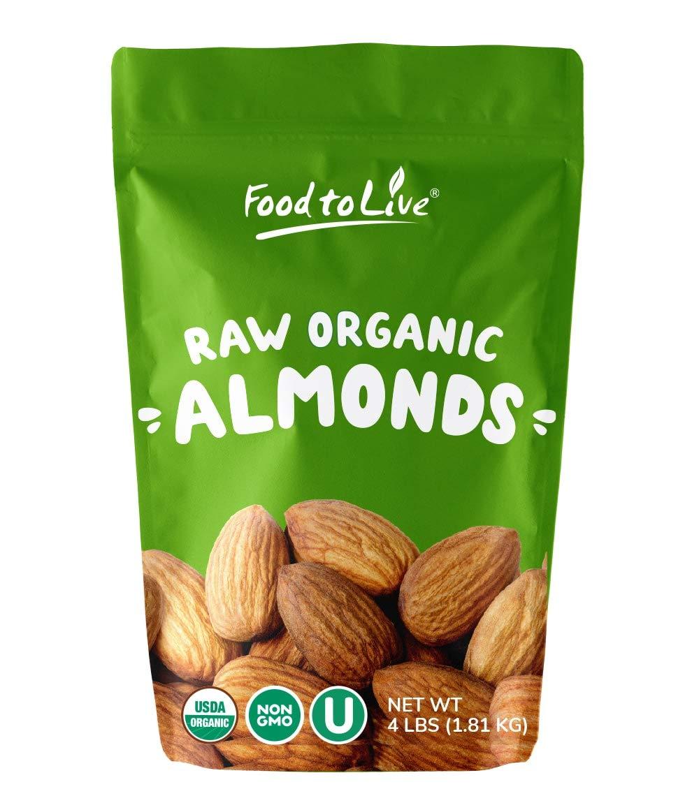 Raw Organic Almonds, 4 Pounds - Bulk, Non-GMO, No Shell, Whole, Unpasteurized, Unsalted, Kosher