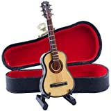 """Seawoo Wooden Miniature Guitar with Stand and Case Mini Musical Instrument Miniature Dollhouse Model Home decoration (3.94""""x1.42""""x0.59"""")"""