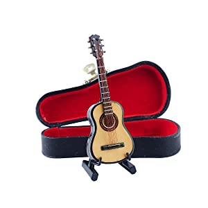 "Seawoo Wooden Miniature Guitar with Stand and Case Mini Musical Instrument Miniature Dollhouse Model Home decoration (3.94""x1.42""x0.59"")"