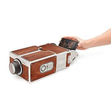 Portátil DIY Cartón Smartphone proyector cine Mini proyector de ...