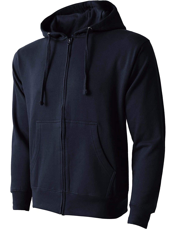 Bright Sun Navy Zip UP Hoodie Jacket Fleece Pocket Sport Active Hooded Shirt Midweight #SHAS