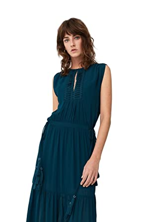 MANGO - Embroidered panel Long dress - Size 12 - Color Emerald Green ... 33eff946f