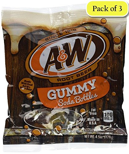 A&W Root Beer Soda Bottle Gummies, 4.5 Oz (Pack of 3)