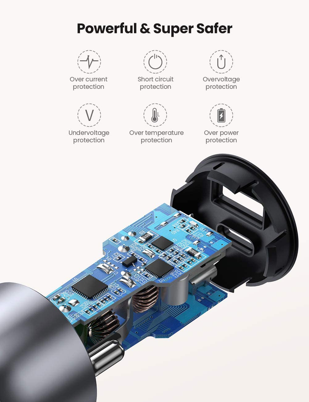 UGREEN USB C Car Charger Mini 36w PD and QC 3.0 Car Adapter 2 Port Simultaneously Fast Charge for iPhone 11 iPad Pro Samsung S10 Huawei P30 Redmi Note 8 Moto G7 GPS Tomtom Satnav etc Metal