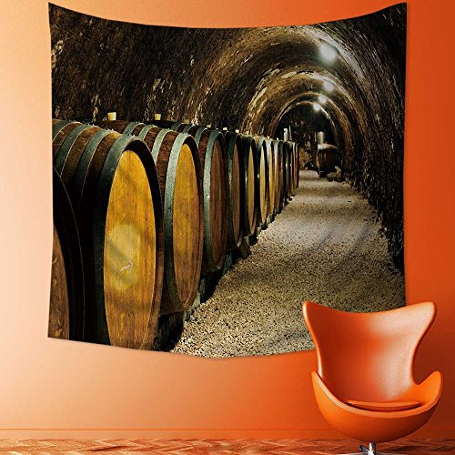 SOCOMIMI Wall Tapestries Old wine barrels in a wine cellar Tapestry Table Cover Bedspread Beach Towel Lattern/51W x 51L INCH