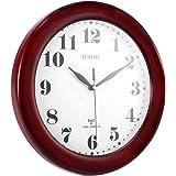 Pendules Murales Rouge, Silencieux Horloge Murale Radio-pilotée France DCF Atomique en Couleur Vin Rouge en Bois de Pin Style de Classicisme