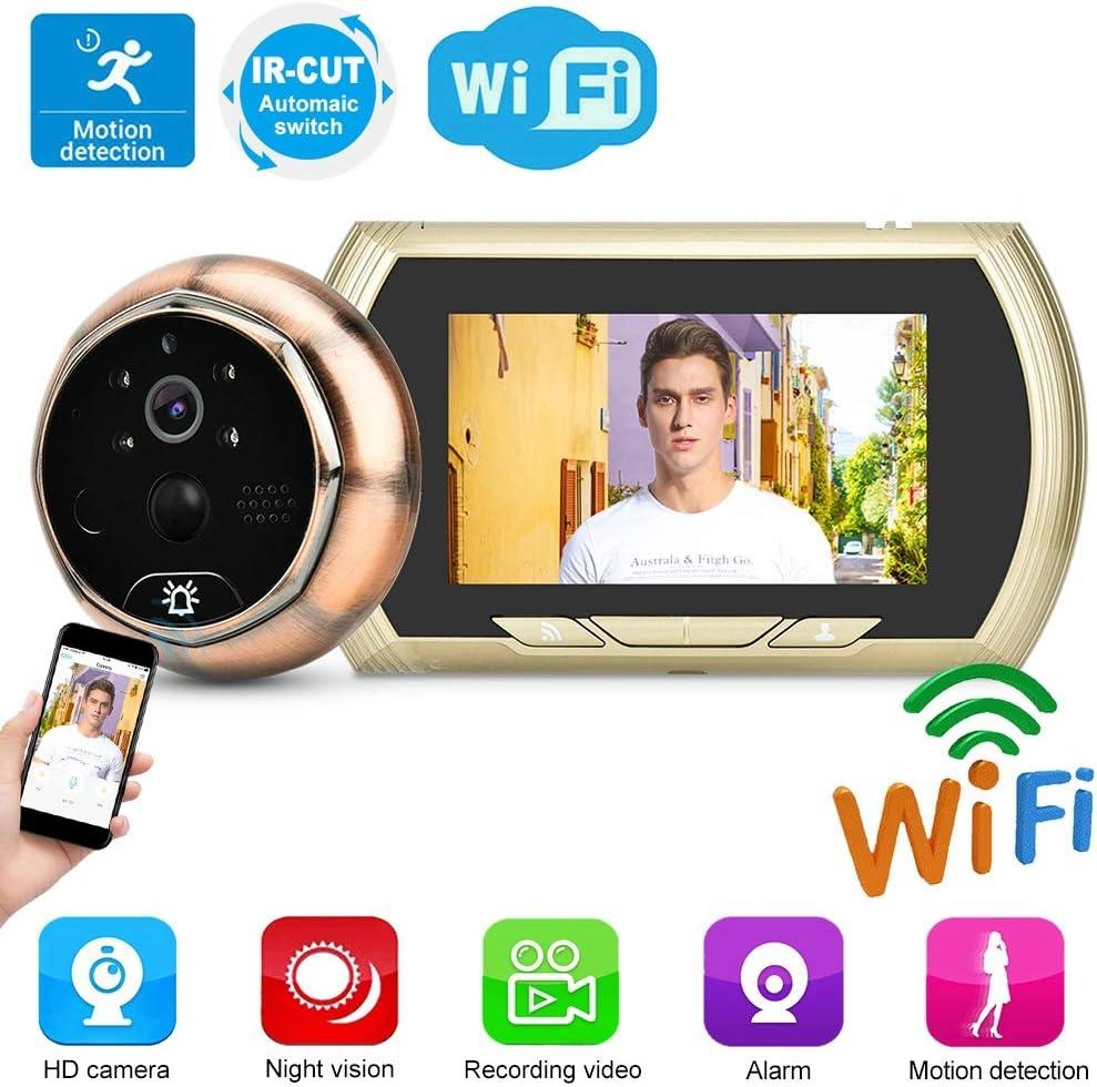 4.3in WiFi HD C/ámara Timbre Inteligente con detecci/ón Movimiento Visor Puerta electr/ónico Vista de Puerta Digital Visor de visi/ón Nocturna por Infrarrojos C/ámara Seguridad Control App