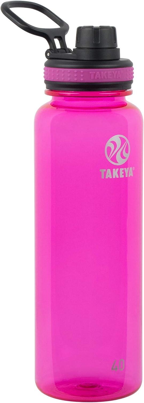 Takeya Tritan Sports Water Bottle with Spout Lid, 40 oz, Fuchsia