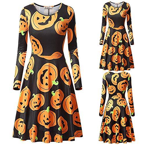 VIASA_ Women's Dress 3/4 Sleeve Loose Plain Casual Long Maxi Dresses Halloween Costumes Pumpkin Printed Cocktail Dresses]()