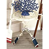 Unique,Fascinating,Nautical-Inspired White Ships Wheel and Oar Accent Table,with 3 Oar-Shaped Iron Legs in Distressed White,Blue and Red Finish,Clear Glass Tabletop,Great for Indoor/outdoor