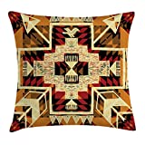 Ambesonne Arrow Decor Throw Pillow Cushion Cover, Native American Retro Aztec Pattern Graphic Design Boho Chic Art Print, Decorative Square Accent Pillow Case, 16 X 16 Inches, Red Orange Yellow