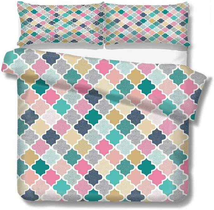 shirlyhome Geometric Cotton Bedding Sets,Classical Moroccan Tiles with Dots in Playful Colors Art Modern Display Kids Bedding-Does Not Shrink or Wrinkle 68 W x 85 L Multicolor