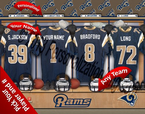 Rams Locker Louis Room - St Louis Rams Team Locker Room Clubhouse Personlized Officially Licensed NFL Photo Print