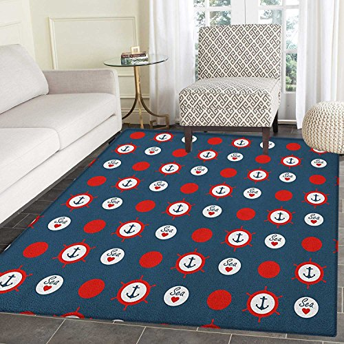 Anchor Rugs for Bedroom Nautical Pattern with Steering Wheels Big Red Polka Dots Hearts Sea Love Circle Rugs for Living Room 2'x3' Night Blue Vermilion