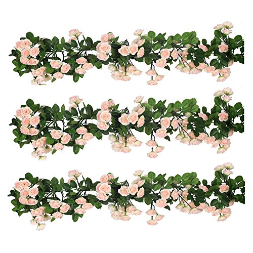 Houda Vintage Artificial Fake Silk Flowers Rose Garland Plant Vine Home Garden Wall Wedding Decor Pack Of 2 (Style 2 Pink) from Houda