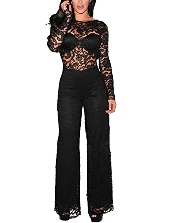ce1be181e73 Amazon.com  Surfywin Women s Sexy Lace Jumpsuits Long Sleeve Halter Wide Leg  Long Pants Fashion Su7511-pants-Black-M  Clothing