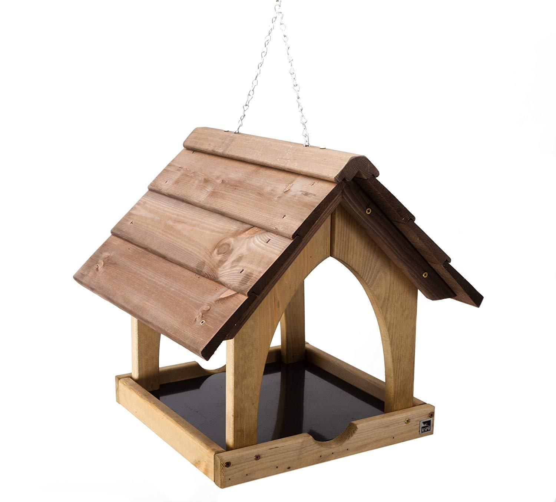 Hanging Wildbird Table Feeder. Wild Bird Wooden Seed Feeding Station. Fat Balls. Parkland