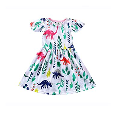 66a4dbefe Amazon.com: Skirt Baby and Toddler Girls Dresses Child Kids Short Sleeve  Dinosaur Print Princess Clothes: Clothing