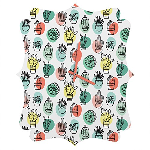 Deny Designs Zoe Wodarz, Summer Days Cactus, Quatrefoil Clock, Medium by Deny Designs