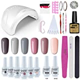 Vishine Gel Nail Polish Starter Kit - 48W LED Lamp 6 Color & Base Top Coat Set, Manicure Tools Popular Nail Art Designs #06
