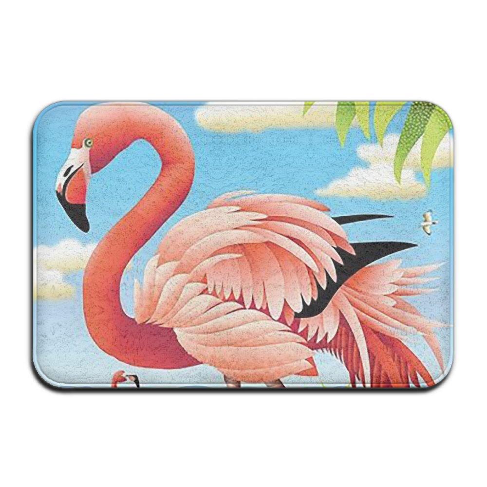 BINGO BAG Pink Flamingos Bird Indoor Outdoor Entrance Printed Rug Floor Mats Shoe Scraper Doormat For Bathroom, Kitchen, Balcony, Etc 16 X 24 Inch