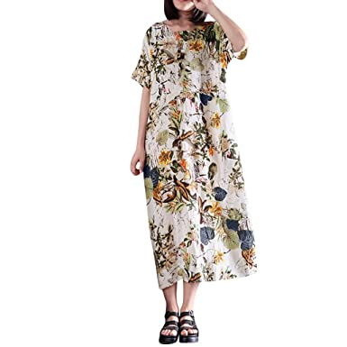 Amazon.com: Oufenli Women Plus Size Short Sleeve Printed Bohemian ...