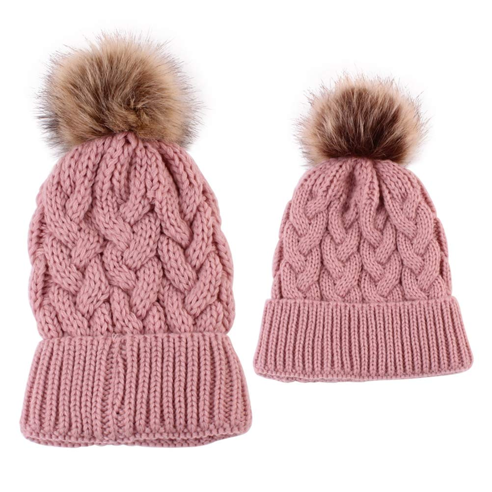 2PCS Mother & Baby Daughter/Son Winter Knitting Beanie Pom Pom Bobble Hats Parent-Child Hats - Pink