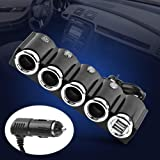 4-Socket Cigarette Lighter Socket Splitter with 2
