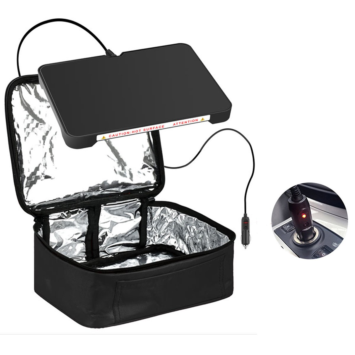 Food Warmer Personal Portable Mini Oven Electric Lunch Warmer for 12V Car,Truckers,Outdoors Travel, Camping,Black yiboss mini