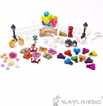 RayLineDo/® 58pcs Fairy Garden Miniature Ornament Set DIY Kit for Succulent Landscaping Decor Home Decoration Outdoor Flower Accessories