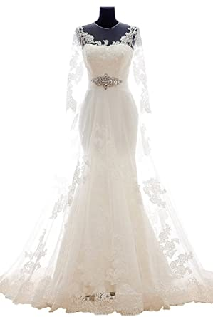 8498c5c3f10 APXPF Women s A line Lace Illusion Tulle Wedding Dress for Bride Long  Sleeves Ivory US26