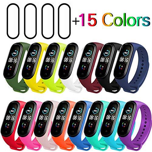🥇 Milomdoi [19 Articulos] 15 Colors Correas + 4 Unidades TPU Protector Pantalla para Xiaomi Mi Band 5
