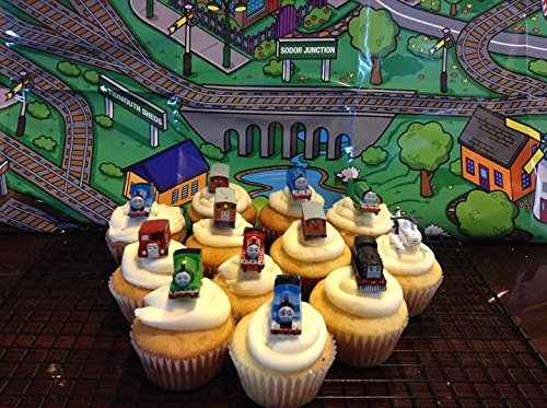 Thomas the Train & Friends Deluxe Figure Set of 12 Cake Toppers Cupcake Toppers Party Decorations with Harold the Helicopter (Decorations Thomas Train Cake)