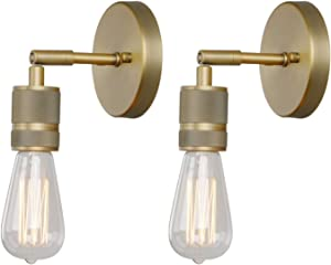 Phansthy 1-Light Sconce Light Antique Brass Finished Wall Sconces Set of Two